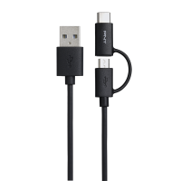 USB A to C 2.0 2in1 1M Black Cable